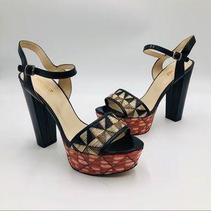 Nine West Leather Platform Multi Color Weave Heels